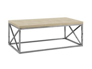 Metal Coffee Table Silver Cream   EveryRoom