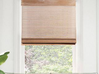 Chicology Premium True to Size Brown Acorn Cordless light Filtering Natural Woven Bamboo Roman Shade 34 in  W x 64 in  l