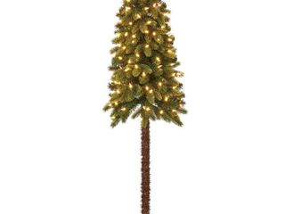 Home Heritage True Bark 4 Foot Slim Artificial Christmas Tree with White lights