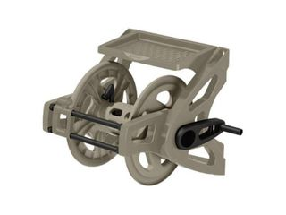 Suncast 100 Foot Capacity Portable Wall Mountable Garden Hose Reel  Taupe  TSA100M