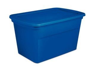 Sterilite 30 Gallon Heavy Duty Stackable Storage Tote  Blue Morpho