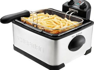 Chefman 4 5 liter Deep Fryer w Basket Strainer  Adjustable Temperature   Timer  Removable Oil Container  Stainless Steel   Stainless Steel