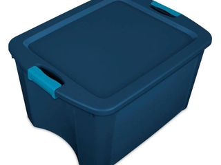 Sterilite 18 Gal latch   Carry Tote Blue with Blue latches
