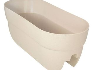 Bloomers Railing Planter with Drainage Holes AAA 24  Weatherproof Resin Planter AAA White