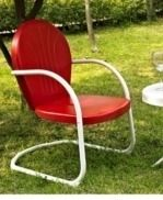 Griffith 1 Piece Metal Outdoor Conversation Seat   One Chair in Red Finish   Red  Retail 202 49
