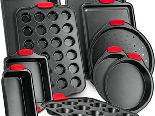 NutriChef Deluxe Non Stick 10 Piece Carbon Steel Design with Red Silicone Handles Oven Bakeware Set