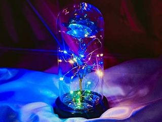 Beauty and The Beast Rose  Romantic Galaxy Rose Flower  Forever Rose Flower Gift  Galaxy Enchanted Blue Rose  Glass Dome Rose Sweet Gifts for Her  Girlfriend  Valentineas Day  Anniversaries Day