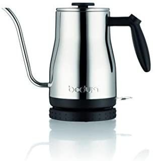 Bodum Bistro Gooseneck Electric Water Kettle  34 Ounce  Chrome  Stainless Steel