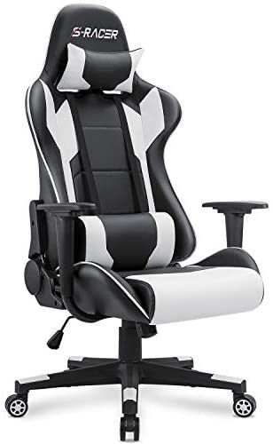 Homall Gaming Chair Office Chair High Back Computer Chair leather Desk Chair Racing Executive Ergonomic Adjustable Swivel Task Chair with Headrest and lumbar Support  White