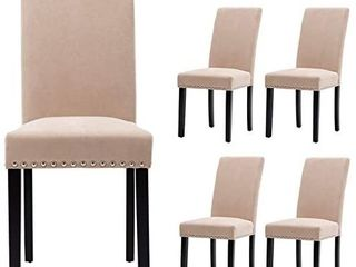 Upholstered Dining Chairs Padded Parson Chair with Silver Nails and Solid Wood legs Set of 4  Beige