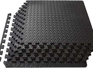 Mzeyuan 1 2 Inch Interlocking EVA Foam Personal Fitness Mat  Diamond Plate Exercise Mats for Indoor Workout  24 in x 24 in