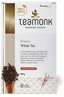 Teamonk Kimaya Imperial Himalayan White Tea loose leaf  50 Cups    100  Natural Tea   Powerful Antioxidant Tea leaves   Tea for Relaxation   No Additives   3 5 oz