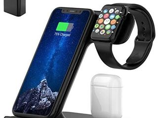 Wireless Charger  3 in 1 Qi Certified 15W Fast Charging Station for Apple iWatch Series 6 5 4 3 2 1 AirPods Wireless Charging Stand for iPhone 12 11 Series XS MAX XR XS X 8 8 Plus Samsung