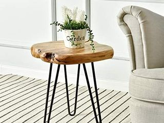 WEllAND live Edge Side Table with Hairpin legs  Natural Edge Side Table  Small Nightstand Wood  15 5  Tall