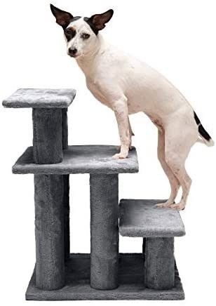 Furhaven Pet Stairs   Steady Paws Easy Multi Step Pet Stairs Assist Ramp for Dogs and Cats  Gray  3 Step