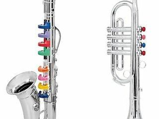 Click N  Play Set Musical Instruments for Kids Silver Saxophone  Trumpet Horn