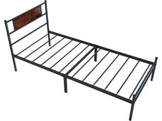 Simple Black Iron Twin Platform Bed with a Headboard