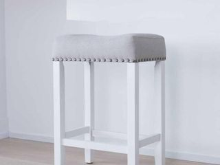 Nathan James Hylie Wood Kitchen Counter Stool  24  Gray Upholstered Fabric Cushion