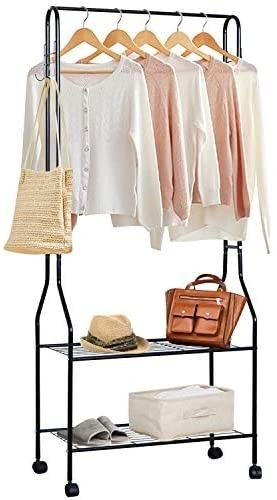TOPNEW Clothing Garment Rack Heavy Duty Clothes Rack Commercial Grade Rolling Clothes Organizer with 2 Shelves 4 Hooks for Office Home