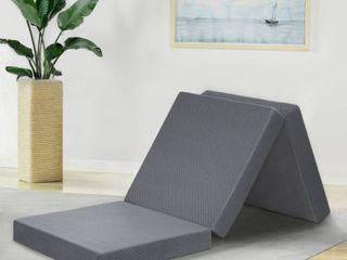 GranRest 4 Inch Tri folding Gel Memory Foam Topper  Grey  Single