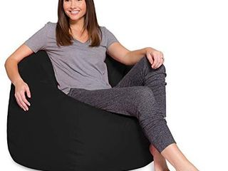 Posh Creations Bean Bag Chair for Kids  Teens  and Adults Includes Removable and Machine Washable Cover  48in   X large  Solid Black