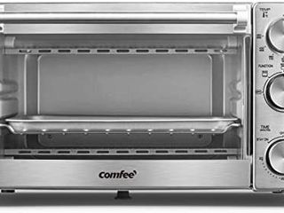COMFEE  Toaster Oven  4 Slice  12l  Multi function Stainless Steel Finish with Timer Toast Bake Broil Settings