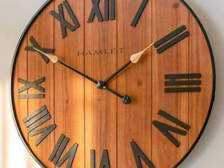 Hamlet large Farmhouse Wall Clock  24  Big Rustic Decorative Shiplap Wooden Wall Clocks for living Room Decor