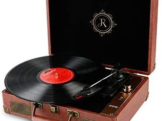 JDR Vinyl Record Player Bluetooth 3 Speed Portable Suitcase RP 1 Turntable with Built in Speakers  USB AUX in Convert Vinyl to Digital  Anti Skate Stylus for Entertainment and Home Nostalgic Decor