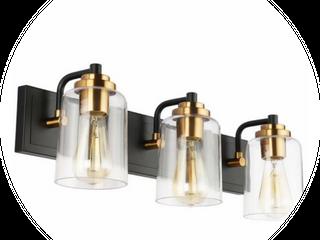 SOlFART Matt Black Vintage Bathroom Vanity light Fixtures Over Mirror Glass Globe 3 lights