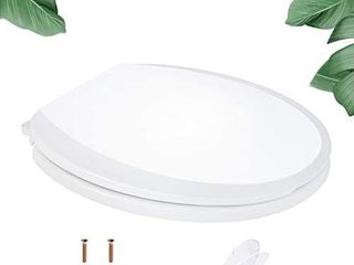 Toilet Seat  TACKlIFE DBTS04S Round Toilet Seat with Two Sets Washers for Easy Installation  Soft Close Toilet Seat with Non slip Seat Bumpers  White Toilet Seat Fits All Standard Round Toilet
