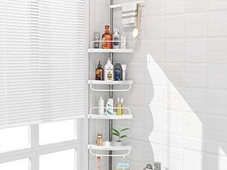 ADOVEl 4 layer Corner Shower Caddy  Adjustable Shower Shelf  Constant Tension Stainless Steel Pole Organizer  Rustproof 3 3 to 9 8ft