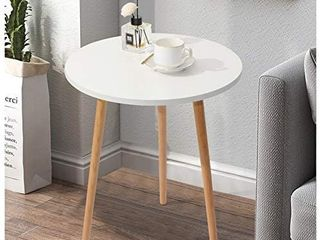 Haton Side Table  Round White Modern Home Decor Coffee Tea End Table for living Room  Bedroom and Balcony  Easy Assembly  16 5 A 20 5 inches