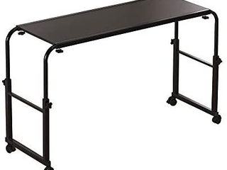 NOVII Overbed Table Standing Workstation with Wheels overbed Desk Height and Width Adjustable Writing Desk for Home Office  Black