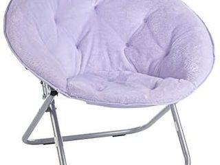Urban Shop Super Soft Faux Fur Saucer Chair with Folding Metal Frame  lavender