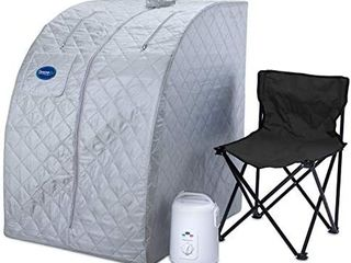 Durasage lightweight Portable Personal Steam Sauna Spa for Weight loss  Detox  Relaxation at Home  60 Minute Timer  800 Watt Steam Generator  Chair Included  Silver