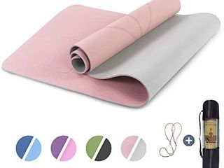 Yoga Mat Non Slip  Pilates Fitness Mats with Alignment Marks  Eco Friendly  Anti Tear Yoga Mats for Women  Exercise Mats for Home Workout