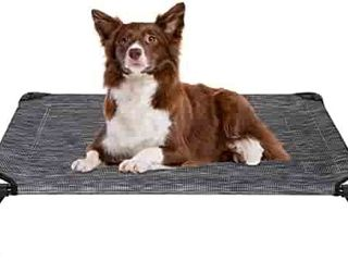 Veehoo Elevated Dog Bed  Portable Raised Pet Cot  Sturdy   Breathable Mat  Durable Textilene Mesh Fabric  No Slip Feet  Indoor or Outdoor Use