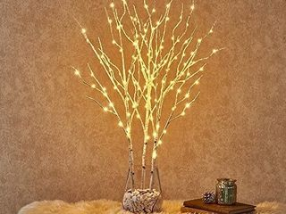Hairui Pre lit Twig Birch Branches with Fairy lights 32IN 150 lED Plug in White Willow Branch lights for Christmas Easter Decoration Indoor Outdoor Use  Vase Excluded