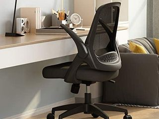 Hbada Office Task Desk Chair Swivel Home Comfort Chairs with Flip up Arms and Adjustable Height  Black