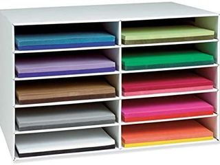 Classroom Keepers 12  x 18  Construction Paper Storage  10 Slot  White  16 7 8 H x 26 7 8 W x 18 1 2 D  1 Piece