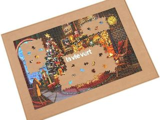 lAVIEVERT Wooden Jigsaw Puzzle Board Puzzle Storage Puzzle Saver with Non Slip Surface for Up to 1500 Pieces   Khaki