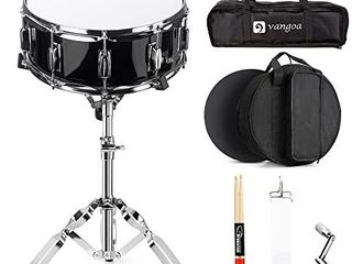 Vangoa Snare Drum Set  14 Inch  10 lugs  Wooden Shell with Case  Practice Pad  Drum Stand  Drum Stand Carry Bag  Sticks  Tuning Key  Strap