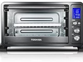 Toshiba AC25CEW BS Digital Toaster Oven with Convection Cooking and 9 Functions  1500W  6 Slice Bread 12 Inch Pizza  Black Stainless Steel
