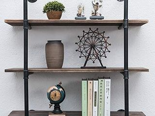 Industrial Pipe Shelving Wall Mounted 36in Rustic Metal Floating Shelves Steampunk Real Wood Book Shelves Wall Shelf Unit Bookshelf Hanging Wall Shelves Farmhouse Kitchen Bar Shelving 3 Tier