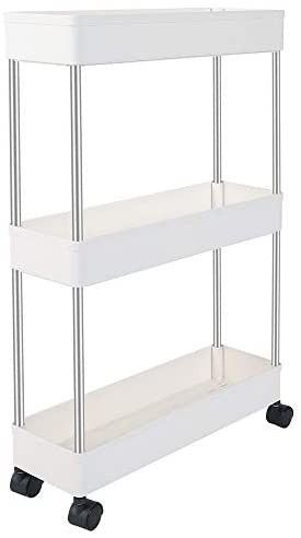EXIlOT Slim Storage Cart  3 Tier Bathroom Organizers Slide Out Storage Shelves Mobile Shelving Unit Organizer Rolling Utility Cart with Casters Wheels for Bathroom Kitchen laundry Narrow Places