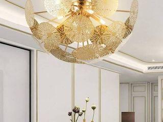Garwarm Modern Flush Mount Chandelier  Stainless Steel Ceiling light for living Room Bedroom Dining Room  6 lights Ceiling light Fixtures Gold