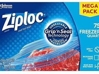 Ziploc Freezer Quart Bags with New Grip  n Seal Technology  Quart  75 Count