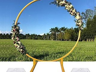 COMEHAPPY 6 5FT Round Wedding Arch  Gold Circle Arch with Stands Metal Hoop
