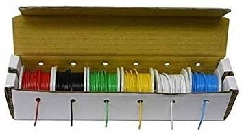 Electronix Express Authentic Stranded Hook Up Wire Kit  Tinned Copper  22 Gauge  6 Different Colored 25 Foot Spools Included  150 Ft total