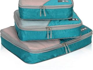 Travel Compression Packing Cubes Expandable Packing Organizer 4Pieces Set Teal